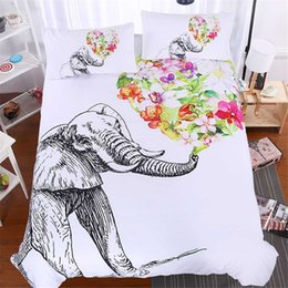 queen size duvet brand 2018 - 3Pcs Animal White Brand Bedding Sets Elephant 3D Luxury Duvet Cover Comforter Cover Queen King full Twin Size flowers bedclothes