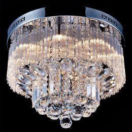 luces de techo empotradas para dormitorio Rebajas Moderna lámpara de araña con gotas de lluvia de cristal K9 Montaje empotrado Lámpara de techo para lámpara de techo para comedor Dormitorio con 9 bombillas G9