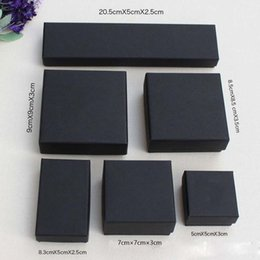 Scatola nera scatola online-High Archives Black Kraft Jewelry Packing Bracelet Necklace Ring Ear Nail Box Regalo di Natale Capodanno Personalizza 6 dimensioni
