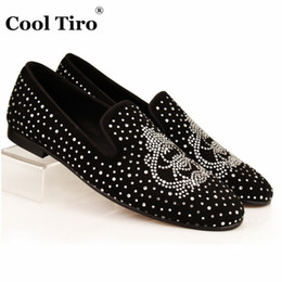 Wholesale strass crystal shoes - COOL TIRO Strass Men Loafers Black Suede Crystal Rhinestones Slippers Party Wedding Dress Shoes Men's Flats Leather Spider Many