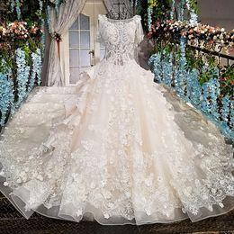 Сексуальное короткое платье молодое онлайн-Цветы свадебное платье для молодых леди длинные Сексуальная мода свадебное платье О-образным вырезом прозрачный назад с коротким рукавом роскошь