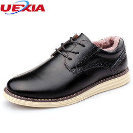 Wholesale Lace Up Rain Boots - UEXIA New Super Warm Wedding Business Man Lace-up Flats Shoes Fashion PU Leather Casual Shoes Plush Warm Slip-On Mens Rain Boot