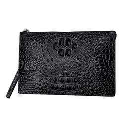 Wholesale crocodile alligator clips - Crocodile pattern cowhide leather men clutch bag men handbag envelope bag 9.7 inch ipad clip purse alligator design business