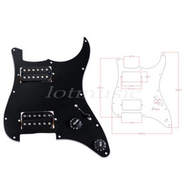 Wholesale Guitar Scratch Plates - Electric Guitar Prewired Loaded Pickguard Scratch Plate Guitar Parts Replacement HH Humbucker 3Ply White Black