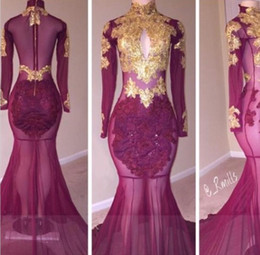Wholesale Golden Yellow Formal Dress - 2K17 2018 Long Sleeves Prom Dresses Mermaid Golden Lace High Collar Sexy African Formal Evening Gowns Illusion Slay Black Girls Party Dress