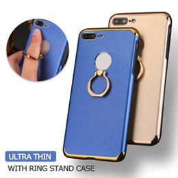 Wholesale Electroplated Rings - Luxury Electroplate Gold Frame Ultra Thin Slim Case 3 In 1 Case With Ring Stand PC Cover For Iphone X 8 7 6S Plus Samsung S8 PLUS OPP BAG