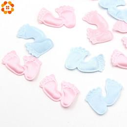 Decoração de pés de crianças on-line-100 pçs / lote DIY PinkBlue Confetti pés do bebê bonito confete para casa crianças festa de aniversário decoração de mesa suprimentos do chuveiro de bebê