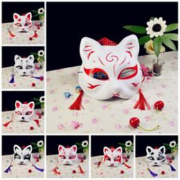 2019 máscara japonesa Anime japonês metade superior rosto máscara fox cat kitsune cosplay masquerade para noh partido halloween máscaras carnaval 4 5yd z desconto máscara japonesa
