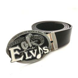 Fibbia in rotolo online-Cinture per uomo con Il re del rock and roll Elvis Vintage Belt Buckle nero Pu Leather Belt Men