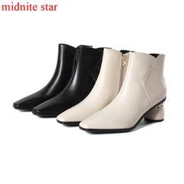 Botas de inverno brancas de pelúcia on-line-Midnite star Senhora Senhoras Sapatos de Inverno Moda Lazer Ankle Boots Zip Feminino Quente Pelúcia Pé Agradável Preto Branco Boa Qualidade