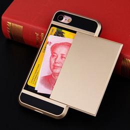 2019 schieberegler Kreditkartensteckplatz-Rüstungs-Kasten für iPhone 7 6 6s 8 plus Fälle klammern Slider 2 in 1 Telefon-Abdeckung für iPhone 5s se X 10 Shell IX Freies Verschiffen rabatt schieberegler