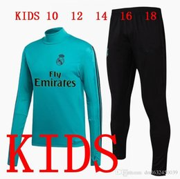Wholesale Black Children Tracksuits - 2017 2018 Kids RONALDO Real Madrid Tracksuit Jogging Boys Soccer kit Football Suits Youth Sport Wear Children Ronaldo training jackets