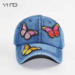 Butterflies 3D Embroidered Baseball Caps 2018 New High-quality Wash Cowboy  Baseball Cap Women s Fashion Summer Autumn Hat Cap ac4cff700474