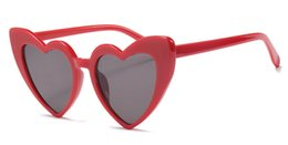 Wholesale Black Heart Shaped Sunglasses - fashionable heart sunglasses for women unique cat eye sunglasses black pink red heart shape sun glasses for women uv400