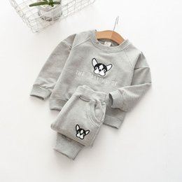Wholesale Sweater Korean Girl - In the spring of 2018 small children new Korean children embroidery sweater Wei pants two piece suit for children wear cuff elastic thread