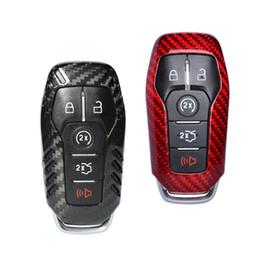 2019 ford fusion keys Fibra de carbono Funda de la llave del coche 5 Botón Cubierta de la llave para FORD FUSION MONDEO MUSTANG F-150 LINCOLN EDGE EXPLORER MK rebajas ford fusion keys