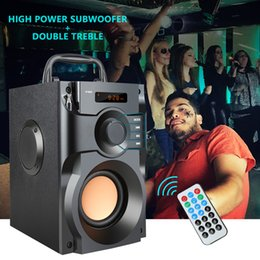 Wholesale power bass portable speaker - A100 Big Power Bluetooth Speaker Wireless Stereo Subwoofer Heavy Bass Speakers Music Player Support LCD Display FM Radio