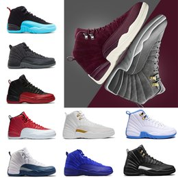 Wholesale games fabric - 2018 Cheap 12 Bordeaux Dark Grey wool basketball shoes white Flu Game UNC Gym red taxi gamma french blue Suede sneaker US5.5-13