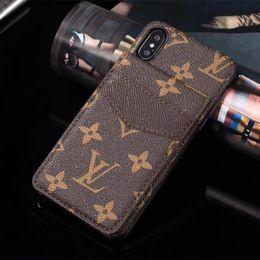 Canada Cas de téléphone de luxe pour iphone XS XR Xs-Max 7 7plus 8 8plus titulaire de la carte en cuir cas de téléphone pour S8 S9 plus S10 plusNote9 cas de téléphone de concepteur Offre