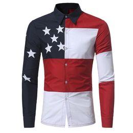 2019 padrões da camisa da luva dos homens longos EUA Bandeira Americana Padrão de Retalhos Camisas de Marca-roupas Mens Camisas de Vestido de manga Longa Slim Fit Casual Homem Chemise homme padrões da camisa da luva dos homens longos barato