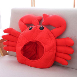 Hot Red Crab Hat Cosplay Costumi Puntelli Accessori Peluche Testa Fancy Cap Scatta foto Mantieni caldo 2pcs cheap plush crabs da granchi di peluche fornitori