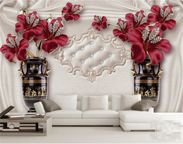Wholesale Tile Flowers - 3d simple flowers fresh high-grade tiles atmosphere noble European jewelry flowers TV background wall paper sofa living room murals