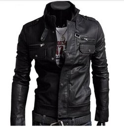 Wholesale Khaki Leather Sleeve Jacket - 2018 Classic Style Motorcycling PU Leather Fashion Jacket Men Slim Fit Male Motor Faux Leather Jacket Men Parka Asia Size