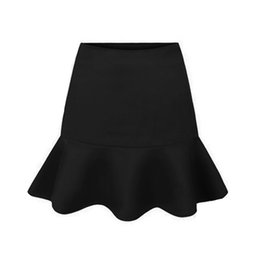 Wholesale Green Fishtail Skirt - New 2016 Spring Summer Womens midi Skirts saia High Waist Slim Package Hip Flounce Fishtail Pleated tutu Skirt faldas Black Red