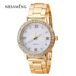 Wholesale Rose Gold Ladies Geneva Watch - Quartz Watch Women Geneva Of Foreign Trade Explosion Models Ladies Watches Steel Strip Watch Female Golden Rose 2017 LZ551