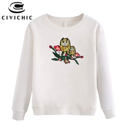 Wholesale Family Sweatshirts - CIVI CHIC Owls Family Embroidery Women Pullovers Floral Patched Sweatshirt Spring Autumn Loose Hoodie Winter Thicken Tops WHD15