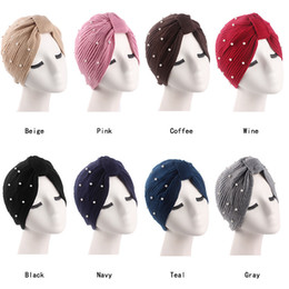 Argentina Mujeres musulmanas Hilados de lana elástica Nudo de perlas Sombrero de turbante Bufanda Chemo Gorros Headwear Wrap Hair Loss Accessories para el cáncer supplier yarn hair accessories Suministro