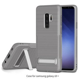 Wholesale Cover Slides - Brushed TPU Cases For Iphone X 8 7 6 Plus Samsung Galaxy Note 8 S9 Plus With Kickstand Holder Anti-slide Mobile Phone Covers
