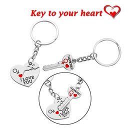 """100 pares de amantes del metal caliente corazón llaveros para llaves del coche llavero del encanto """"clave para mi corazón"""" te amo llavero de plata regalo de san valentín desde fabricantes"""