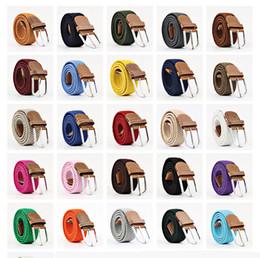Women s woven leather belts en Ligne-Hommes Femmes Casual Tricoté Ceinture En Cuir Tissé Toile Élastique Stretch Ceinture Unie Sangles Ceinture En Métal Boucle