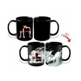 Wholesale Magic Cup Heat - Promotion Magic Mugs One Piece Monkey D Luffy Mug Cup Ceramic Milk Coffee Tea Mugs Color Change Hot Cold Heat Sensitive Mug