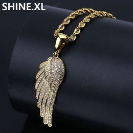 pietre d'angeli Sconti Collana in argento placcato in oro placcato in oro con pendente CZ Stone Angel Wings per donne di fascino