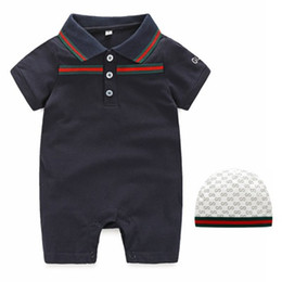 Wholesale Summer Sport Suit For Kids - Baby Boys Girls Rompers Newborn Infant Striped sports suits 2018 Summer Kids short Sleeve jumpsuit climbing clothes for children 0-2T D313