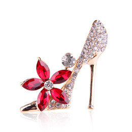 Wholesale Vintage Shoe Plates - Shoes Crystal Brooches for Women Men Suit Collar Dress Vintage Brooch Rhinestone Red Flower Brooches