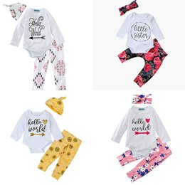 Wholesale top hat headbands - Baby arrow outfits children headband hat+letter top+Floral print pants 3pcs set 2018 Boutique kids Clothing Sets 8 colors C3626
