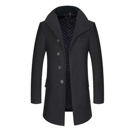 Wholesale Gray Hat Wool - 2017 Autumn New Fashion Single Breasted Stand Collar Wool Coat Men Slim Fit Peacoat High-quality Long Winter Men 169cy