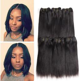 Pelo lacio 6pcs online-Pelo brasileño recto 6 unids / lote 100% sin procesar Extensiones de cabello humano virgen brasileña del cabello humano paquetes 50 g / paquete