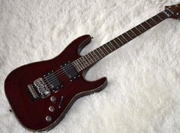 Wholesale custom veneer - Factory Custom Wine Red Electric Guitar with Flame Maple Veneer,Abalone Frets Inlay,Floyd Rose,Free shipping,Can be Customized