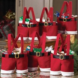 Wholesale Funny Candies - Christmas Gifts Handbag Tote Small Candy Bags Funny Santa Claus Pants Shaped 13cm Bag for Children Kids Party Decoration