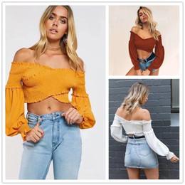 Wholesale Ladies Tops Design Lace - 3 Design Plus Size Slim Fitness Shirt Solid Color Blouse Outfits Leakage shoulder Lady Bubble Ruffle Long Sleeve crop Top CL371