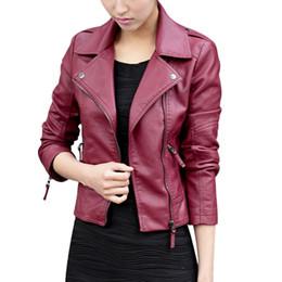 Chaquetas de color dulce online-Mujeres del otoño negro delgado estilo coreano chaquetas de cuero de imitación de la PU Bodycon dulce cremallera de manga completa prendas de vestir exteriores femenina abrigo más el tamaño