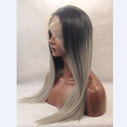 Wholesale Wig Gray Long - Long Synthetic Lace Front Wig for Women Silky Straight Grey Gray Lace Front Wig Ombre Two-Tone Synthetic Lace Front Wig Grey Ombre Wigs