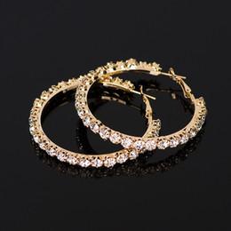orecchini in oro 18k per bambino Sconti YFJEWE 2018 New Designer di strass di cristallo orecchini donne oro orecchini a cerchio Orecchini di gioielli moda per le donne # E029