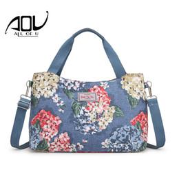 Großes blumendruckgewebe online-Sommer 2018 Frauen Messenger Bags Fashion Print Floral Cross Body Schultertasche Canvas Hobo Bag Nylon Stoff große Frauen Handtasche Big