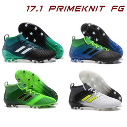 Wholesale Ground Spikes - Laceless ACE 17.1 Primeknit FG Men Soccer Cleats Firm Ground Cleats Outdoor Trainers Boost FG NSG ACE 17 Kids Football Boots Size39-40