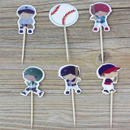 Toppers do queque do feliz aniversario on-line-24 Pçs / set Baseball Meninos De Beisebol Do Bebê Do Chuveiro de Bebê Cupcake Toppers Crianças Feliz Aniversário Decoração Do Bolo Do Partido Suprimentos 2 1wx bb